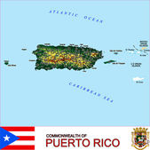 Puerto Rico counties emblem map — Stock Vector