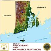 Rhode Island counties emblem map — Stock Vector