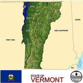 Vermont counties emblem map — Stock Vector