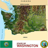 Washington counties emblem map — Stock Vector