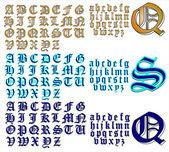 ABC Alphabet lettering design Canterbury combo — Stock Vector