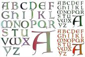 ABC Alphabet lettering design Lombardy combo — Vettoriale Stock