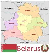 Belarus Administrative divisions — Stock Vector