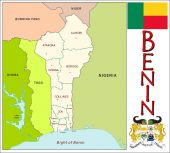Benin Administrative divisions — Stock Vector