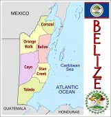 Belize Administrative divisions — Stock Vector