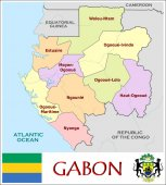 Gabon Administrative divisions — Stock Vector