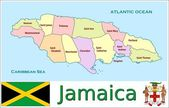 Jamaica Administrative divisions — Stock Vector