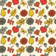 Seamless vector pattern with autumn leaves and flowers — Stock Photo #52409569