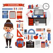Set of objects and character in a flat design on education — Stock Vector