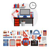 Set of images of the workplace of the student. Flat icons school. — Stock Vector