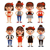 Set characters girls in different styles of clothing. Cartoon characters. flat design — Stock Vector