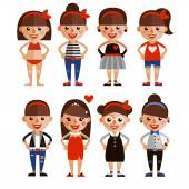 Filles de caractères de la valeur dans différents styles de vêtements. personnages de dessins animés. design plat — Vecteur
