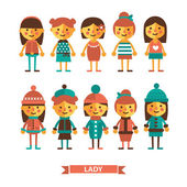 Set of girl in summer and winter clothes. — Stock Vector