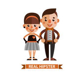 Beautiful girl and the guy dressed stylishly. Flat design. — Stock Vector