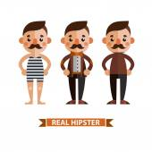 Stylish guy with a mustache in different costumes. — Stockvektor