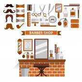 Icons and background composition barbershop. Flat design. — Vector de stock