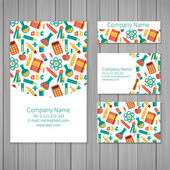 Set of business card and invitation card templates with ornament. — Stock Vector