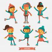Girls dancing and skating. — Stockvektor