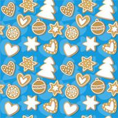 Vector seamless pattern in the Christmas stile with gingerbread — Stock Vector