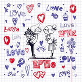 Vector set of images in the sketch style on the theme of love. — ストックベクタ