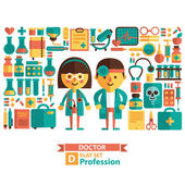 Icons and characters on the medical theme — Stockvektor