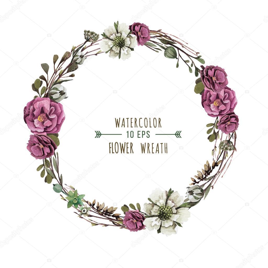 Vintage flower wreath stock vector 169 antoninash 74528685