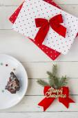Christmas Presents and Dessert. Christmas Background — Stock Photo