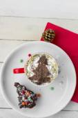 Christmas Coffee and Dessert. Christmas Background — Stock Photo