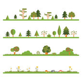 Tree and Bush Line Set — Stock Vector