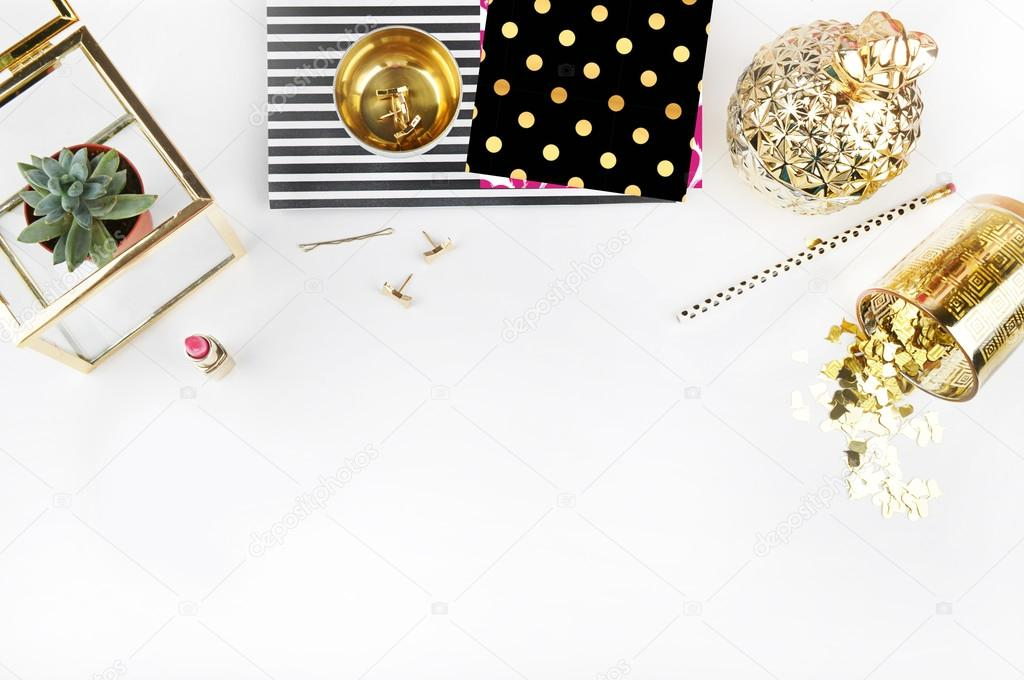 office table view and gold accessories mock up background header site u2014 stock photo 80022344 feminine