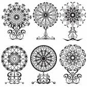 Set of decorative lace flowers — Stock Vector