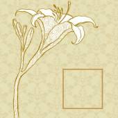 黄金のリリーの飾りの背景に — ストックベクタ