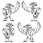 乌鸦-管家 — 图库矢量图片