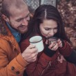 Happy Young Couple in Winter Park having fun.Family Outdoors. love — Stock Photo #62005003