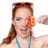 Colourful Studio Shot of Funny Woman. — Stockfoto