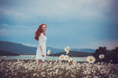 Beautiful woman enjoying field, harmony concept — Foto Stock