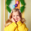 Portrait of a cute little girl , easter decoration — Stock Photo #67355489