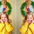 Portrait of a cute little girl , easter decoration — Stock Photo #69824239