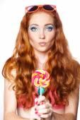 Colourful Studio Shot of Funny Woman. — Stock Photo