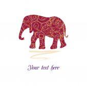 Original beautiful card with elephant — Stock Vector