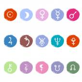 Colorful astrological signs of planets — Stock Vector