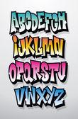 Graffiti cartoon comic doodle font alphabet. Vector — Vetor de Stock