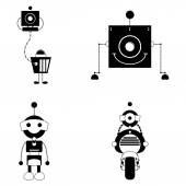 Conjunto de diferentes robots lindos aislado — Vector de stock