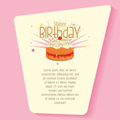 A light yellow card with some text and a birthday on a pink background — Stock Vector