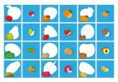 白い背景の上の顔の表情と果物のセット — ストックベクタ