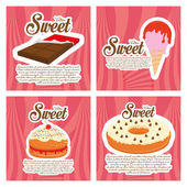 Set Of Desserts Isolated On Color Background — Stock Vector