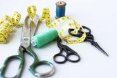 Sew accessories.  scissors cutting closeup — Stock Photo
