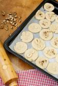 Raw cookie dough on the baking sheet before baking — Stock Photo