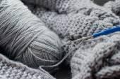 Gray yarn and hook — Stock Photo