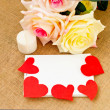 Romantic card with roses. notebook and hearts — Stock Photo #60989543